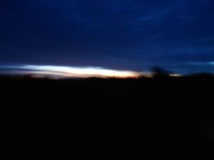 På vej til Ganløse, solen står op