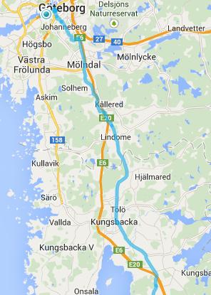 Bedste rute ud af Göteborg