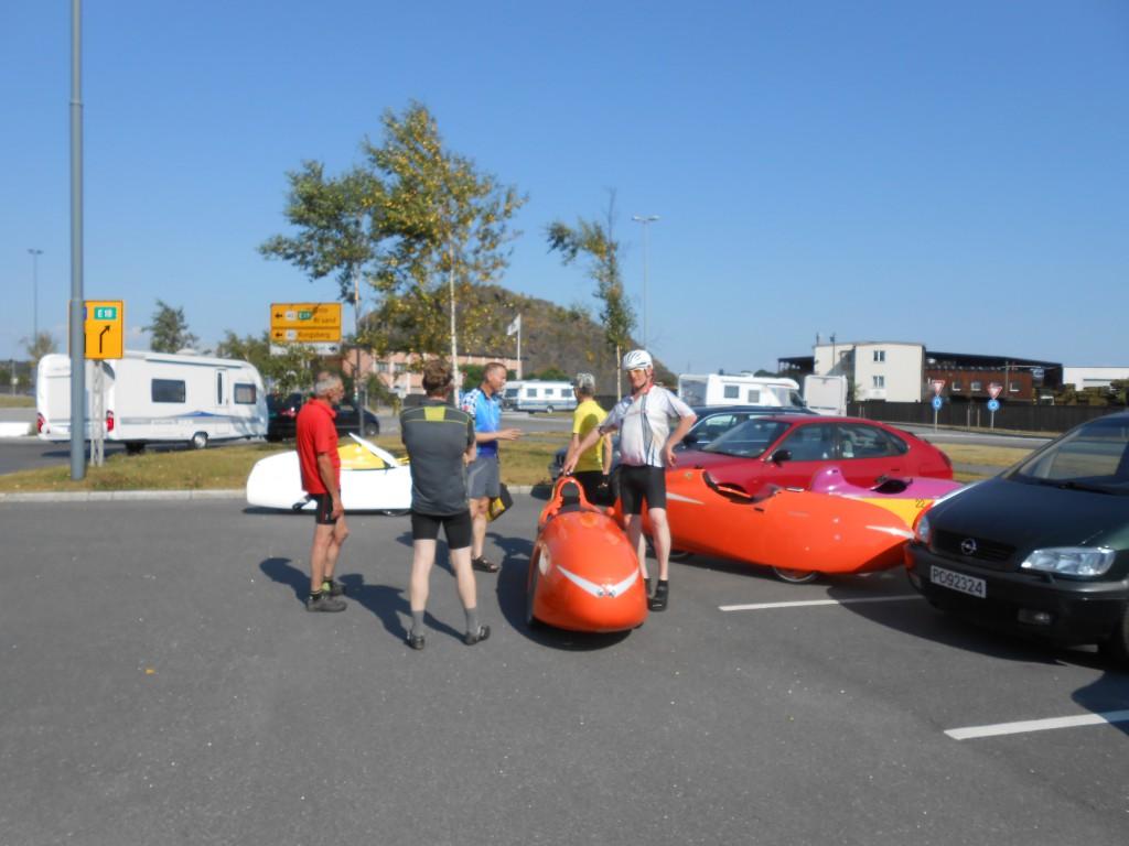 Nu 6 velomobiler på Havnen i Larvik