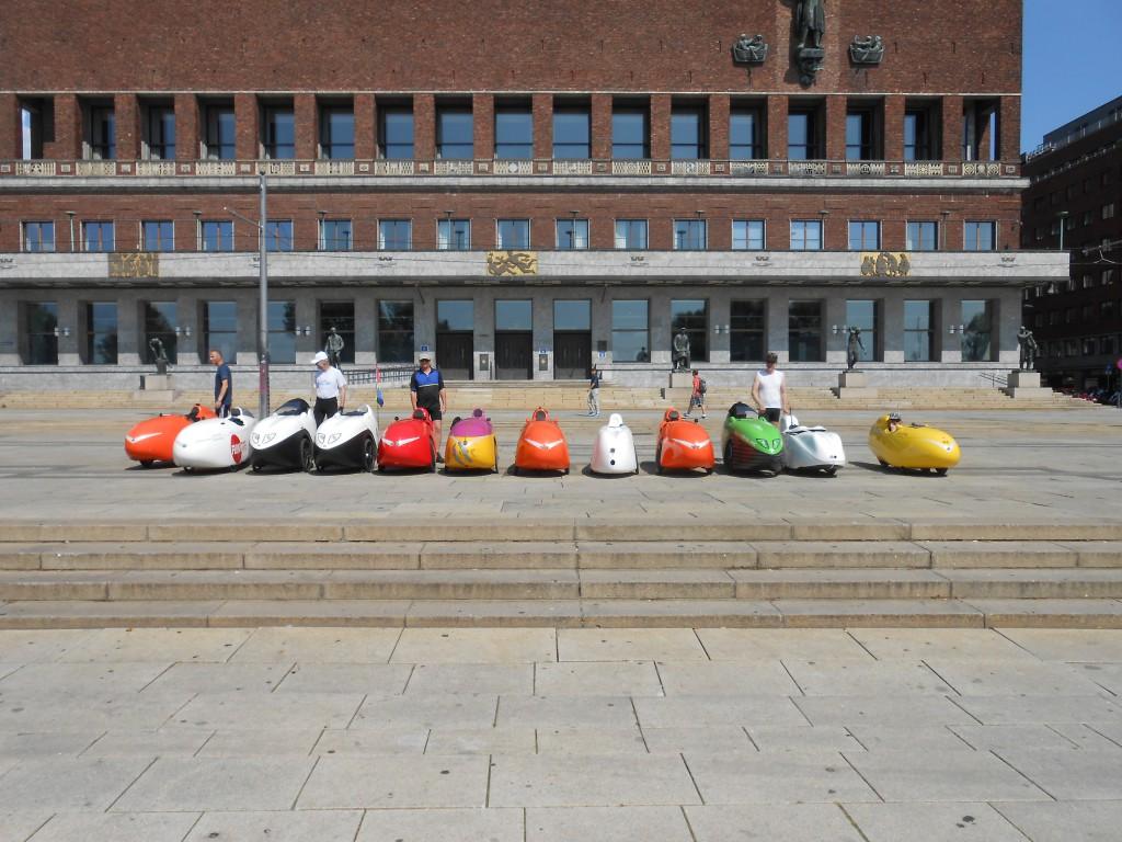 Velomobiler på Raadhuspladsen i Oslo