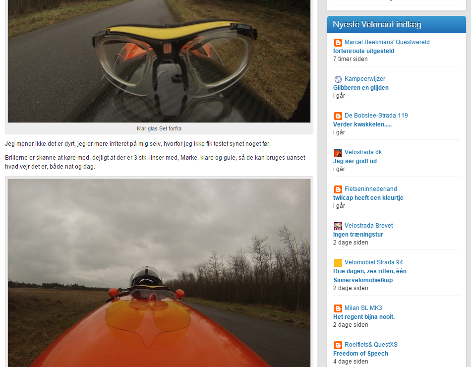 Screenshot: Velonaut blog og sider