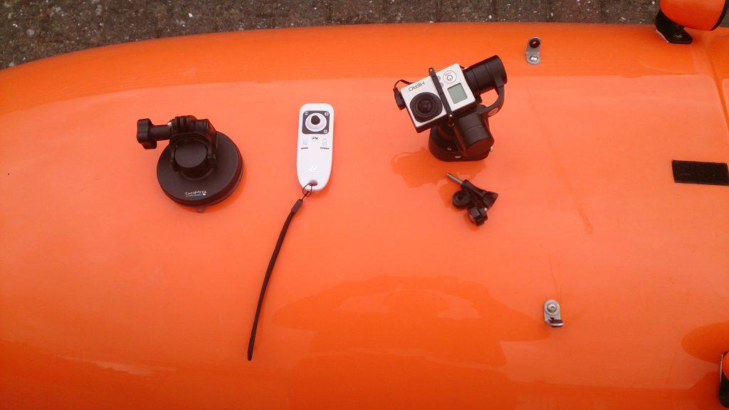 Gimbal, remote, GoPro og sugekop