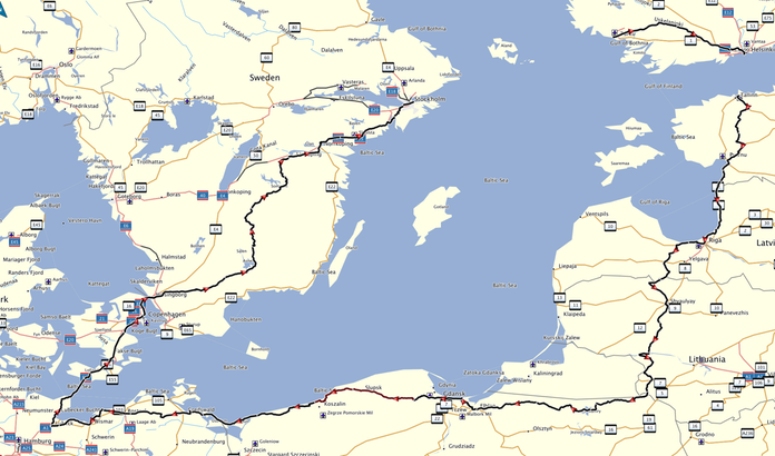 The Great Baltic Ride ruten 3300 kilometer