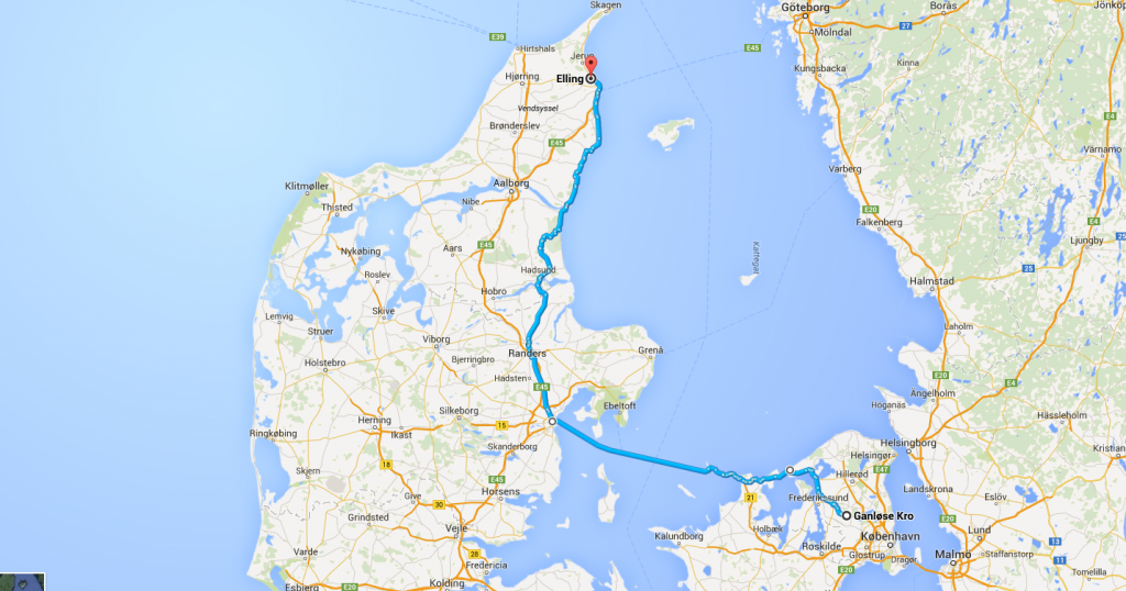 Eksempel på rute i Google maps