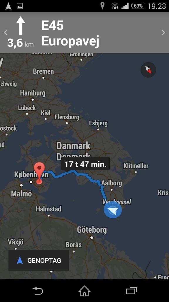 Ruteoversigt Smartphone Google map