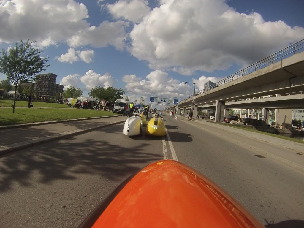 Klar til start af Velomobil Street Race 2015