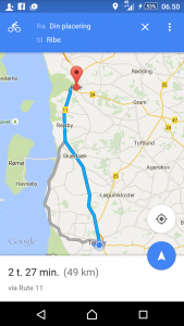 Google Tønder til Ribe 49 km