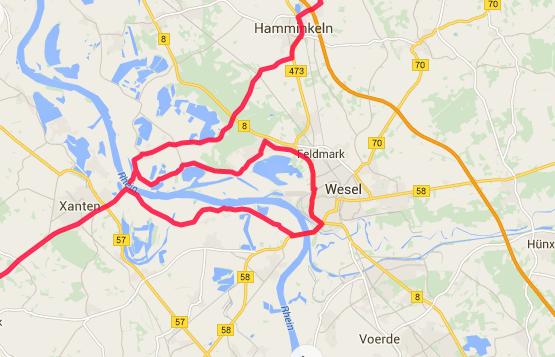 Wesel og Rhein ingen færge