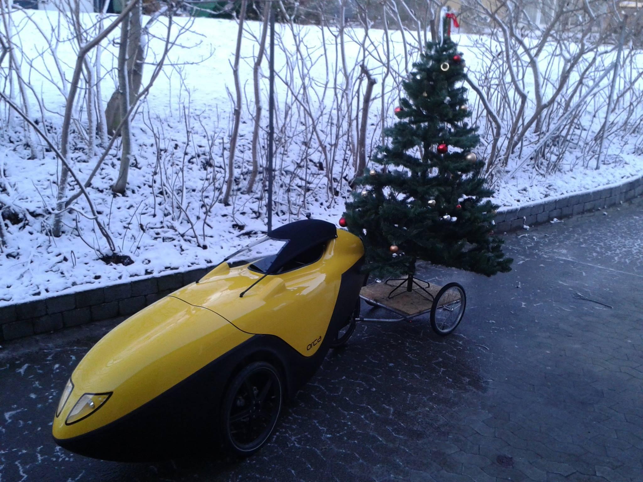Orca med Juletræ ved velomobilcenter.dk