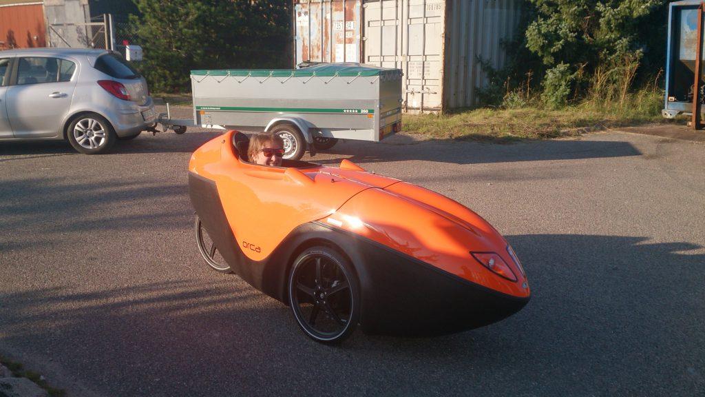 Åsa i sin nye Orange Orca